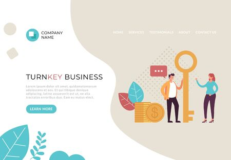 Turnkey business service banner poster web page concept. Vector flat cartoon graphic design illustration