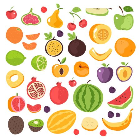 Cartoon hand drawn simple fruits icon elements isolated set. Vector flat cartoon graphic design illustration  イラスト・ベクター素材