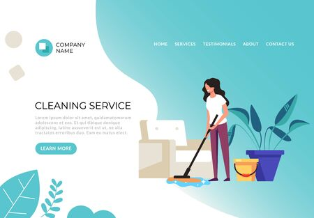 Cleaning service banner poster concept. Vector flat cartoon graphic design illustration