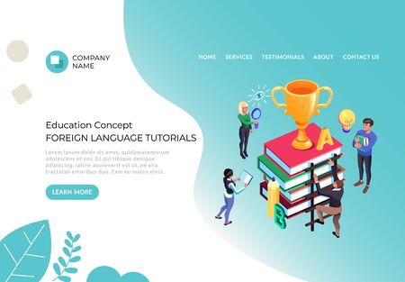 Foreign language courses tutorial concept. Vector flat cartoon graphic design illustration 向量圖像