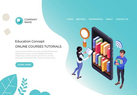 Online courses tutorials web library university concept. Vector flat cartoon graphic design illustration