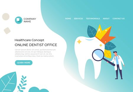 Dentist office stomatology service concept. Vector flat cartoon graphic design illustration