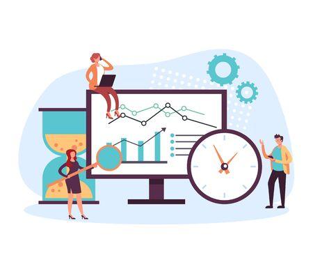 SEO searching analytics management concept. Vector flat cartoon graphic design illustration