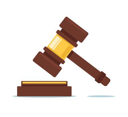 Concetto del martello della corte del giudice giudiziario Illustrazione di progettazione grafica del fumetto piatto vettoriale