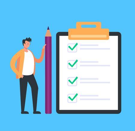 Checklist to do done list concept. Vector flat cartoon graphic design illustration