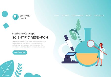Scientific research banner poster concept. Vector flat cartoon graphic design illustration Иллюстрация