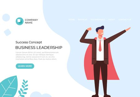 Business leadership banner poster concept. Vector flat graphic design illustration