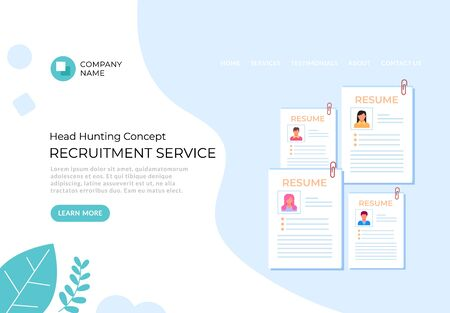 Recruitment hr head hunting service banner poster concept. Vector flat graphic design illustration