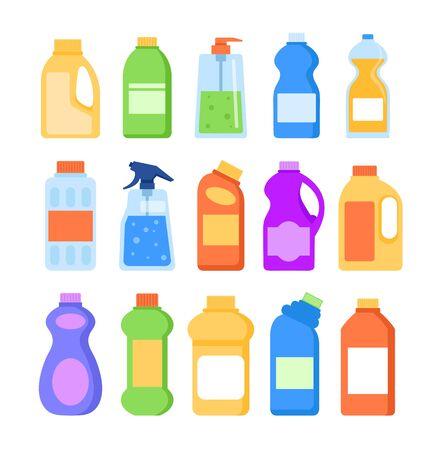 Detergent cleaner bottles isolated icon set. Vector flat graphic design illustration  イラスト・ベクター素材