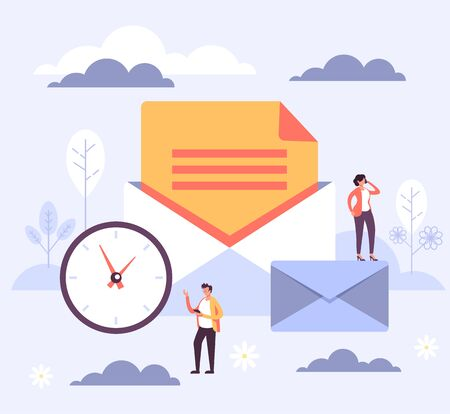 Online internet email envelope concept. Vector flat cartoon graphic design illustration