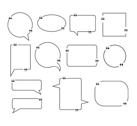 Quote box frame isolated set collection. Vector flat graphic design illustration Vektorgrafik