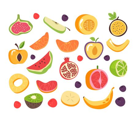 Slice cut fruit isolated set collection. Vector flat graphic design cartoon illustration Illustration