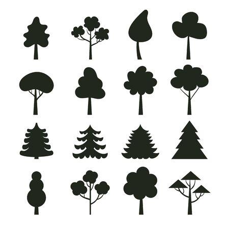 Black silhouette shadow tree isolated set. Vector flat graphic design cartoon illustration