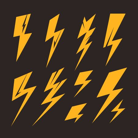 Lightning bolt isolated simple set collection. Vector flat graphic design cartoon illustration