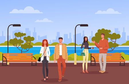 Man woman people characters walking in public park. Vector flat graphic design cartoon illustration