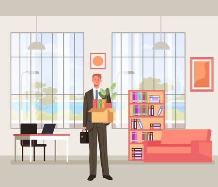 Office worker manager character get new job. Vector flat graphic design cartoon illustration