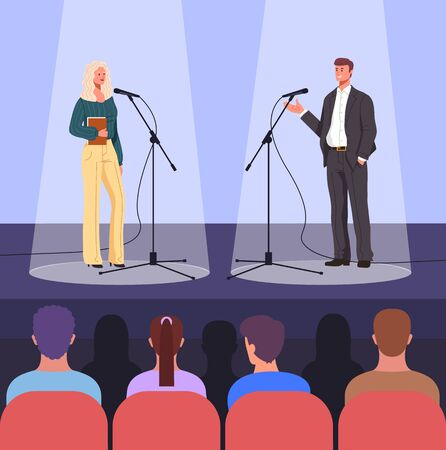 Stage debate performance concept. Vector flat graphic design cartoon illustration