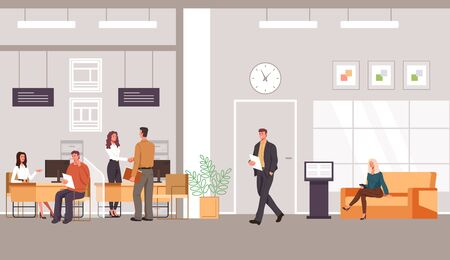 Bank office interior and client with banking specialist workers. Vector flat graphic design cartoon illustration Illustration