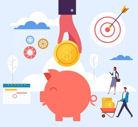 Account banking savings service concept. Vector flat graphic design cartoon illustration Illustration