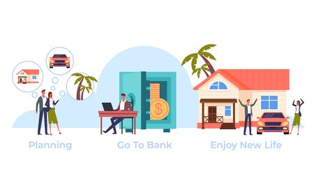 Family taking credit loan on dream come true. Banking concept. Vector flat graphic design cartoon illustration Illustration
