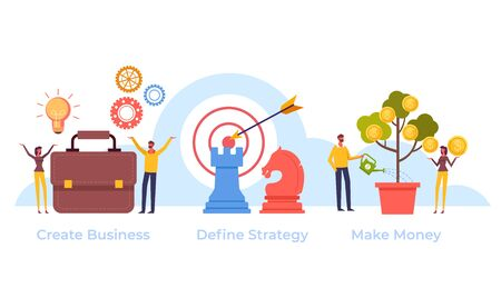 Successful business targeting strategy steps. Vector flat graphic design cartoon illustration