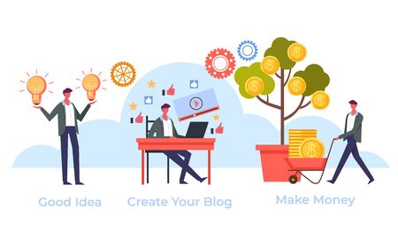 Online internet blogging business concept. Vector flat graphic design cartoon illustration