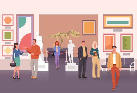 People character visiting museum. Vector flat graphic design cartoon illustration