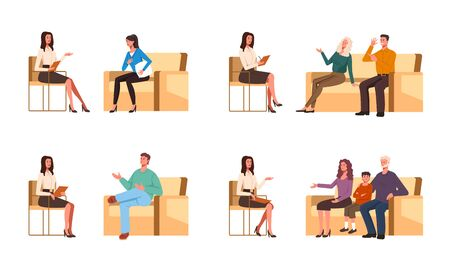 People patients talking to psychologist character. Group therapy concept. Vector flat graphic cartoon illustration design