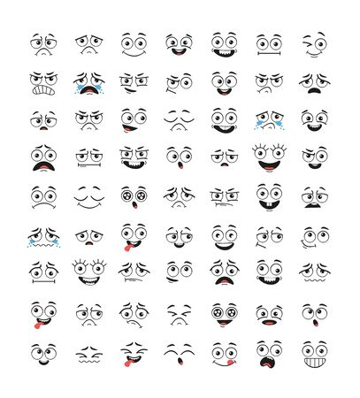 Set of funny cartoon emotional faces isolated collection. Vector flat graphic cartoon illustration design
