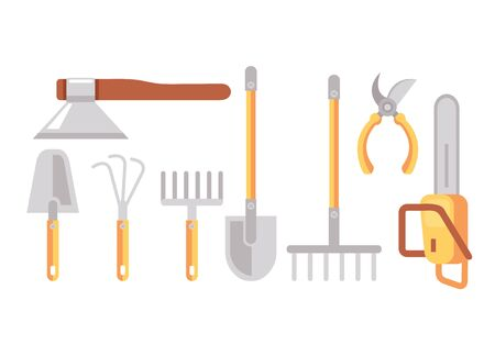 Farming gardening tool isolated set. Vector flat graphic cartoon illustration design Standard-Bild - 142807456