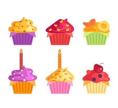 Collection de jeu de cupcakes d'anniversaire isolés et savoureux. Conception d'illustration de dessin animé graphique plat de vecteur