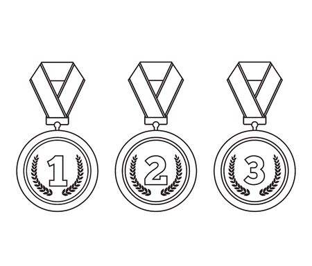 Line art medals isolated set collection. Vector flat graphic cartoon illustration design