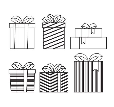 Gift boxes line art icon set isolated collection. Vector flat graphic cartoon illustration design