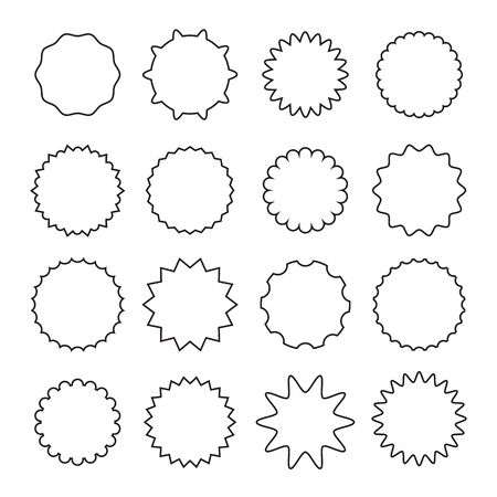 Black stickers isolated set line art collection. Vector flat graphic design cartoon illustration Illustration