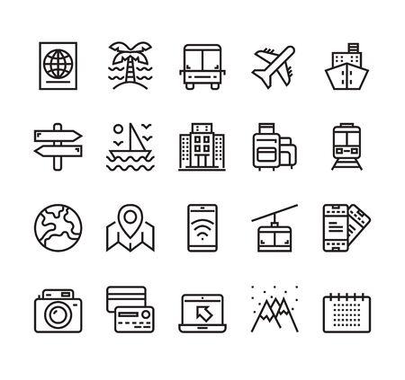 Travel tourism holiday line isolated icon set collection. Vector flat graphic design cartoon illustration