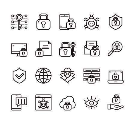 Personal data protection security isolated line icon set collection. Vector flat graphic design cartoon illustration