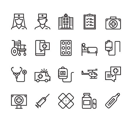 Medicine health care emergency hospital isolated outline icon set collection. Vector flat graphic design cartoon illustration Çizim
