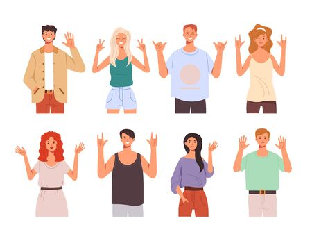 People teen characters say hello and showing greeting gesture hands isolated set. Vector flat graphic design cartoon illustration Illustration