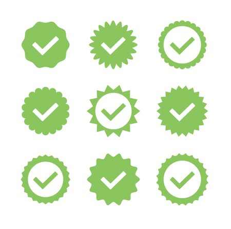 Green stickers badges check mark isolated set collection. Vector flat cartoon graphic design illustration