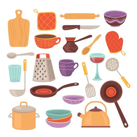 Kitchen tools accessory simple isolated set collection. Vector flat cartoon graphic design illustration