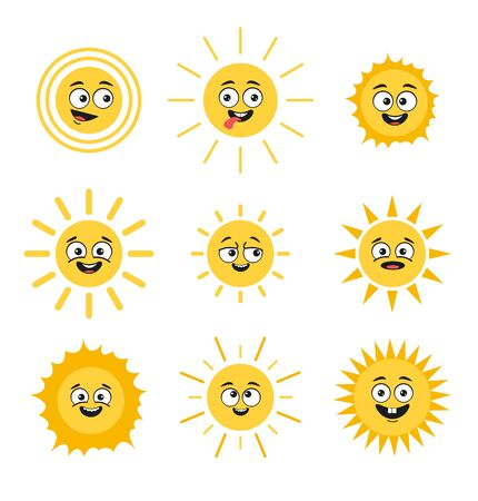 Happy smiling sun characters comic isolated set collection. Vector flat cartoon graphic design illustration