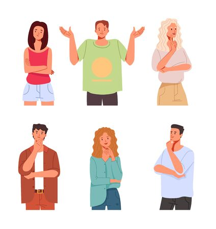 People characters think in different position isolated set collection. Vector flat cartoon graphic design illustration Illusztráció