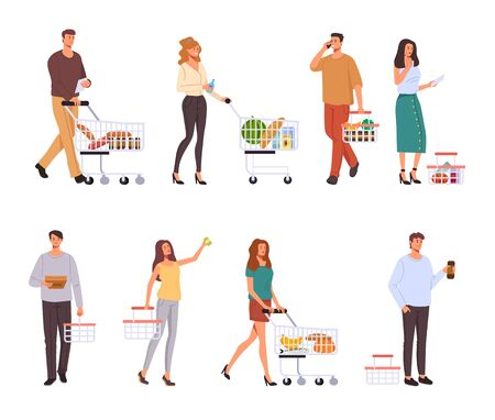 People character buying food in supermarket isolated set. Vector graphic design concept Illustration