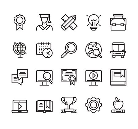 Education study learning university simple lone icon isolated set. Vector graphic design concept