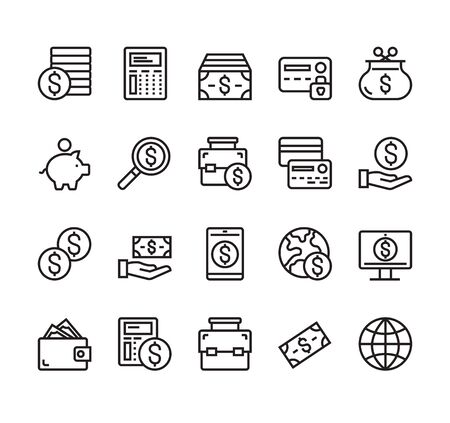 Money currency business banking line simple icon isolated set. Vector graphic design concept