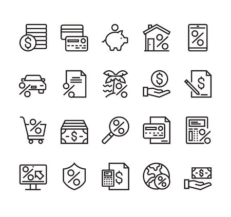 Credit and loan banking financial line simple icon isolated set. Vector graphic design concept