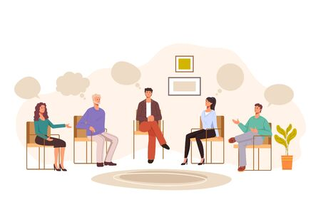 Group people psychology problems therapy concept. Vector graphic design illustration