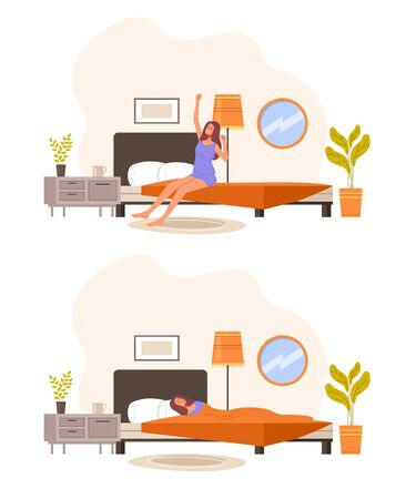 Morning and night set. Vector graphic design illustration Illustration