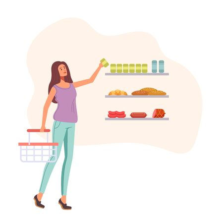 Woman character choosing food in supermarket. Vector graphic design illustration Illustration