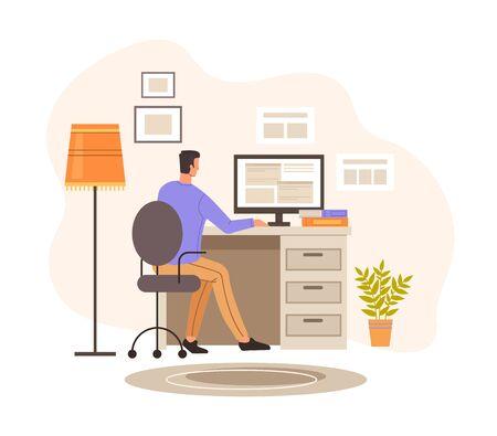Programmer designer character working home. Vector graphic design illustration